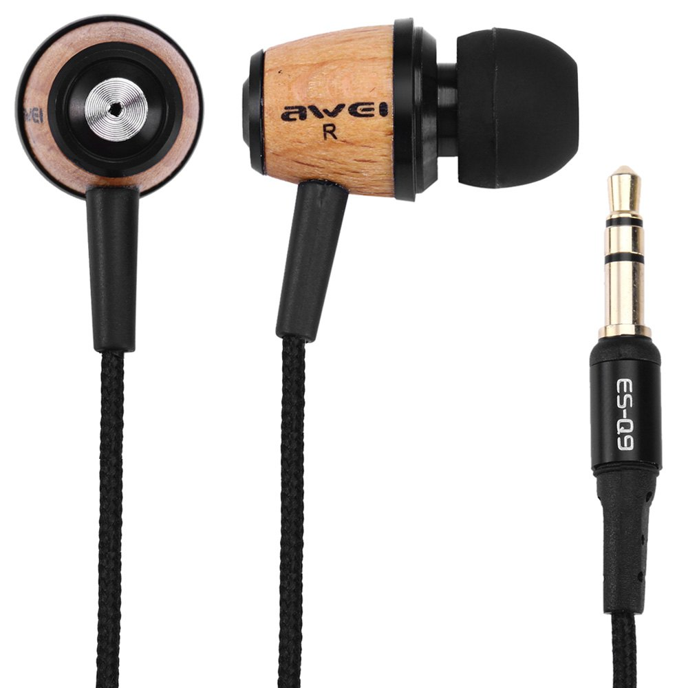Awei ES - Q9 Wood Design Super Bass In-ear Earphone with 1.2m Cable for Smartphone Tablet PC For ipod Cellphone mp3 mp4(China (Mainland))