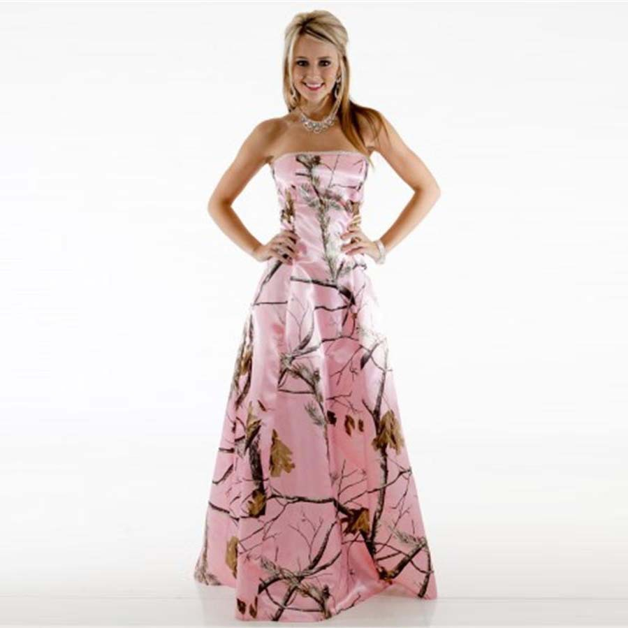 2016 camo bridesmaid dresses pink strapless pattern for Camo and pink wedding dresses