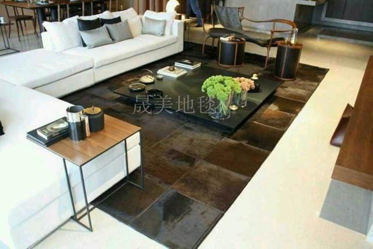 1 piece 100% natural cow leather polyester shaggy carpet