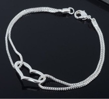 1 x 925 Sterling Silver Heart Love Bracelet Silver Chain Lady Women Jewelry Gift Hot Sale(China (Mainland))