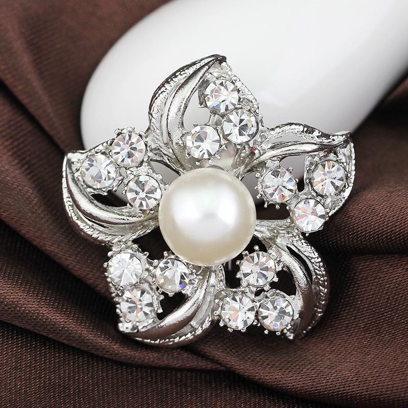 Pearl Rhinestone Flower Wedding Brooches Corsage Women Gift Mini Fashion Jewelry Silver Small Brooch Pins Bridal Wholesale(China (Mainland))