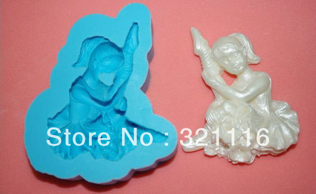 Free Shipping Silicone cake tool,Ballet cutter fondant cake decoration,DAB 3d molds,Cake cutter mold for party,TS39064