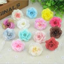 100 Pcs 4.5cm Handmade Mini Artificial Silk Rose Flowers Heads DIY Scrapbooking Flower Kiss Ball For Wedding Decorative(China (Mainland))