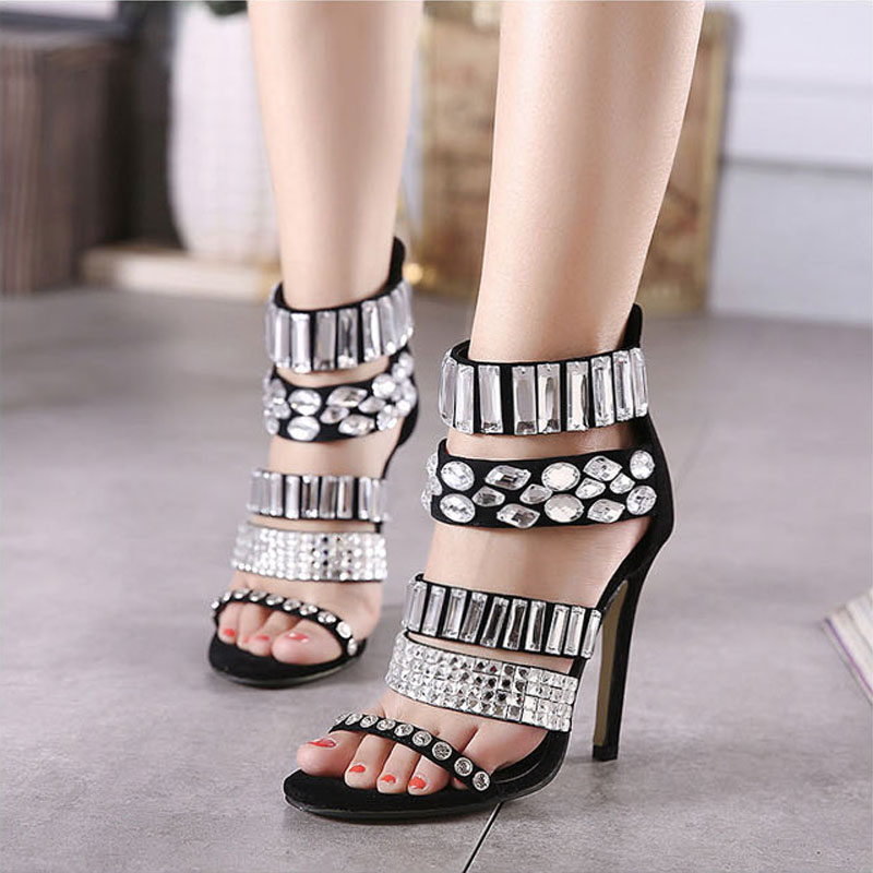 2016 New Summer Style Women Sexy Rhinestone High Heels Back Zipper Peep Toe Stiletto Sandals Ladies Pumps Party Shoes Black Z3.5<br><br>Aliexpress