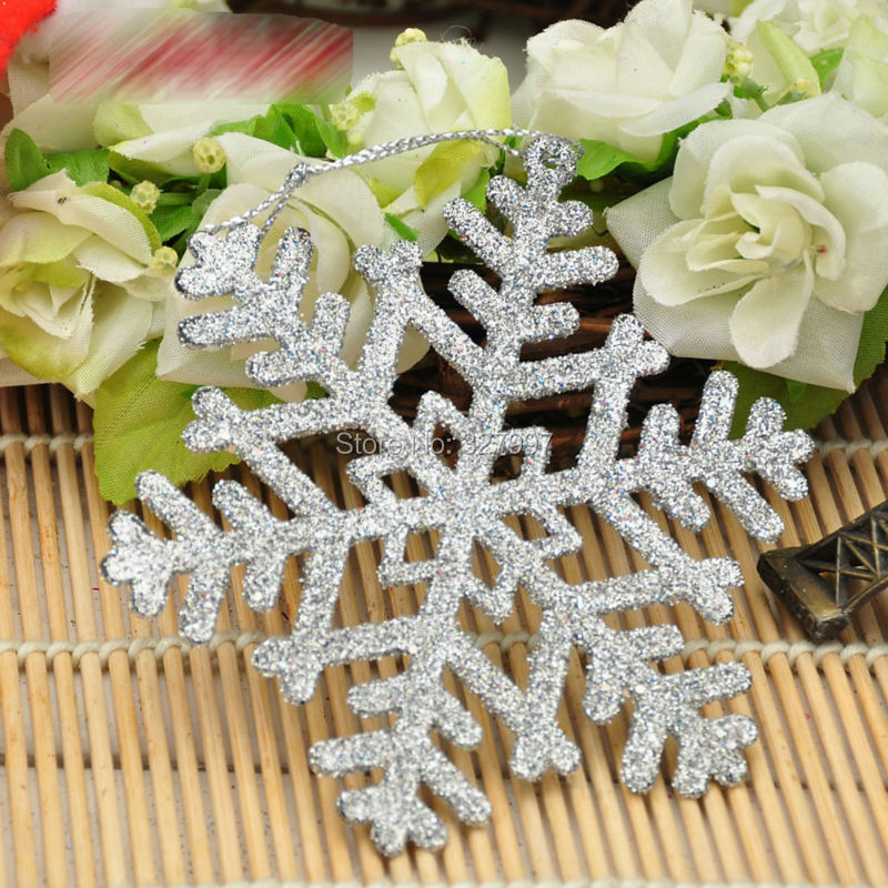 Fashion Christmas party decoration 10cm plastic snowflakes artificial five colors Xmas decor snow flake adornos de navidad 5pcs(China (Mainland))