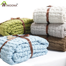 HAKOONA Solid Double Knit Fiber Blanket Summer Cooler Thin Quilt Office Nap Single Blanket Sheets queen 180*120cm(China (Mainland))
