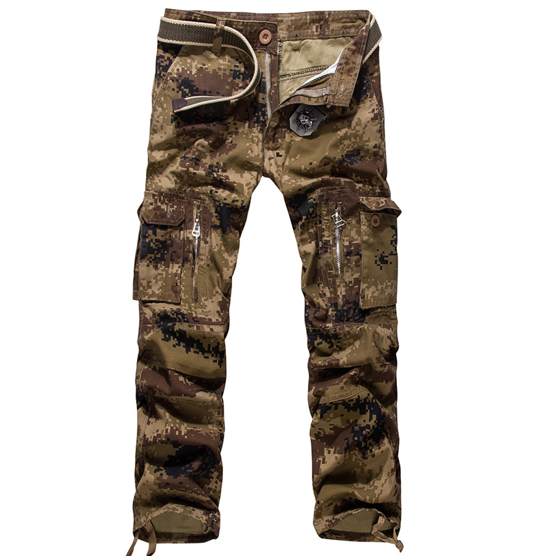 Camouflage Cargo Pants Men Military Style Trousers Cotton Straight Pocket Baggy Casual Tactical Combat Pants Big Size Long(China (Mainland))