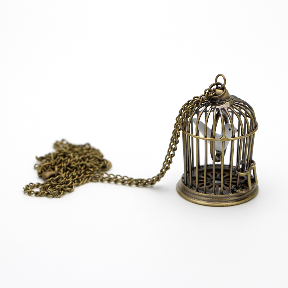 MF0654 Creative Bird Cage Swing Necklace Pendant/birdcage necklace(China (Mainland))