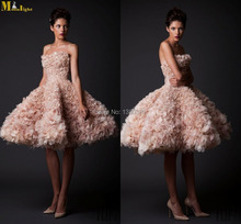 MON-415 2015 Krikor Jabotian Luxury 2015 Strapless Ball Gown Knee Length Flowers Sexy Short Wedding Dresses(China (Mainland))