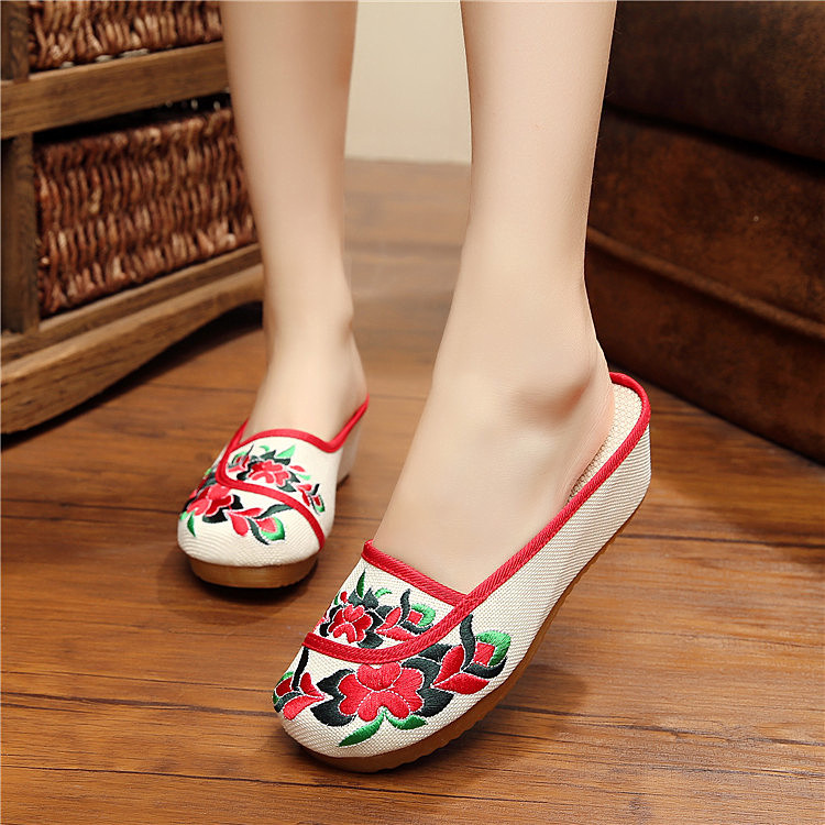 2016 spring new slope with embroidered shoes old Beijing cloth shoes casual Floral sandals women slippers home  shoes 35-40