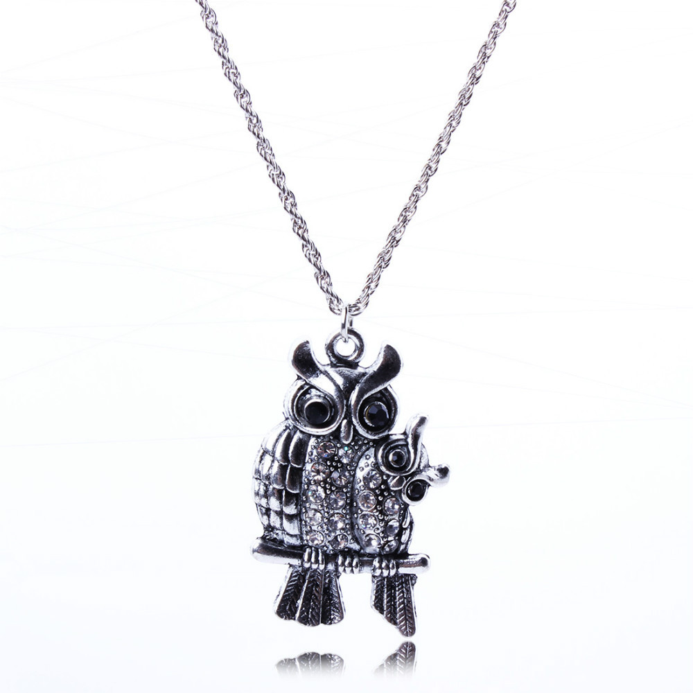 Hot Sale Vintage Jewlery Double Owl Ellipse Crystal Pendant Necklace Silver Clavicular Chain New Wholesale Price For Lady XL5681(China (Mainland))