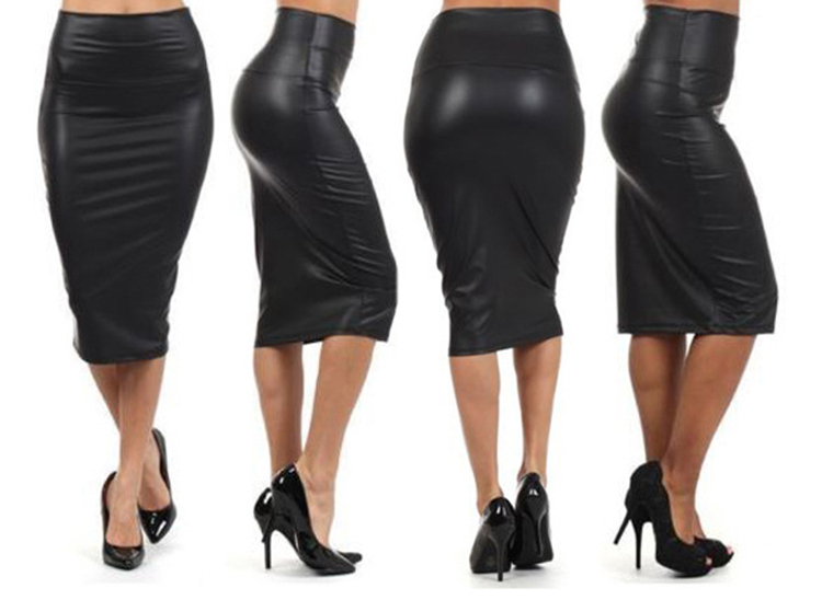 Trendy Autumn Summer Style Casual Fashion High Waisted Faux Leather Pencil Woman Skirt Color Black Red