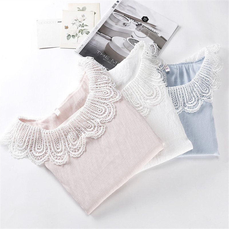 Real Photo 2016 Summer Style Short Sleeve Chiffon Blouse Lace Turn Down Collar Loose Shirt Korea Preppy Style White Pink Tops(China (Mainland))