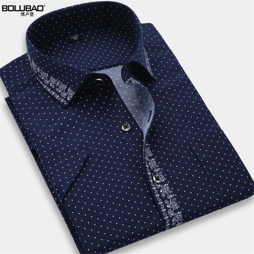 2016 Hot Sale High Quality Casual Shirt Men Dot Shirt Summer Short Sleeve Shirt Brand-Clothing Slim Fit Mens Dress Shirts(China (Mainland))