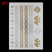 New Sale Fashion Hot Metalic Tatoos Gold Metallic Temporary Flash Tattoos Sex Products Henna Metal Women Golden Watch Stickers(China (Mainland))