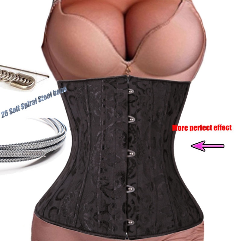 28Steel Boned Corset Top Waist Training Corsets Bustier Black Floral Embroidery Body Shaper Plus Size Corselet Gothic espartilho(China (Mainland))