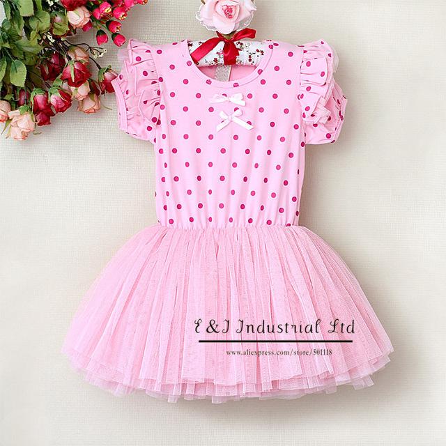 2014 Girl Petti Lace Dresses Children Princess Party Dress  Chiffon And  Cotton Dress Childern Clothing
