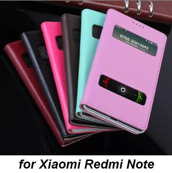 For Xiaomi Redmi Note Luxury Genuine Leather Phone Cover Case with 2 Smart Windows for Phone Calls Display &pick up Tree Texture(China (Mainland))