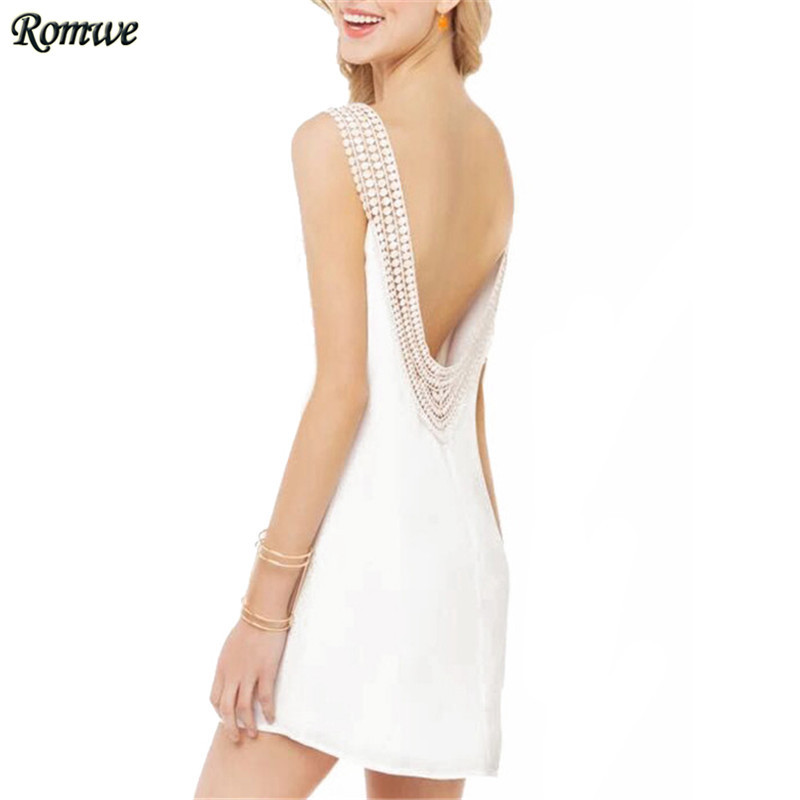 ROMWE Summer Clothes For Women 2015 Hot Sale Sexy V Neck Sleeveless Crochet Cut Out Open Back A-Line White Short Dress(China (Mainland))
