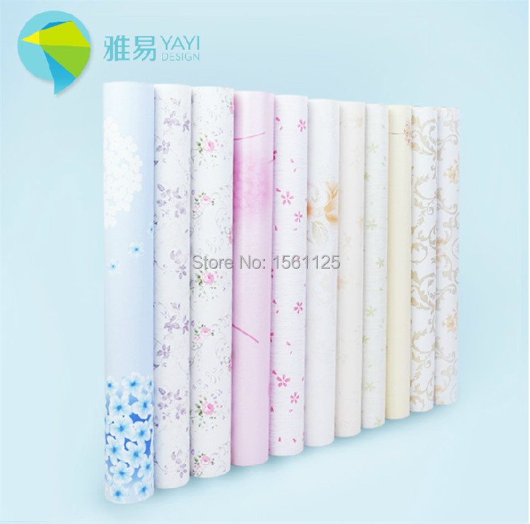 Free shipping fee!! Pvc wallpaper rustic fashion thickening waterproof self-adhesion for bedroom drawing room floral pattern(China (Mainland))