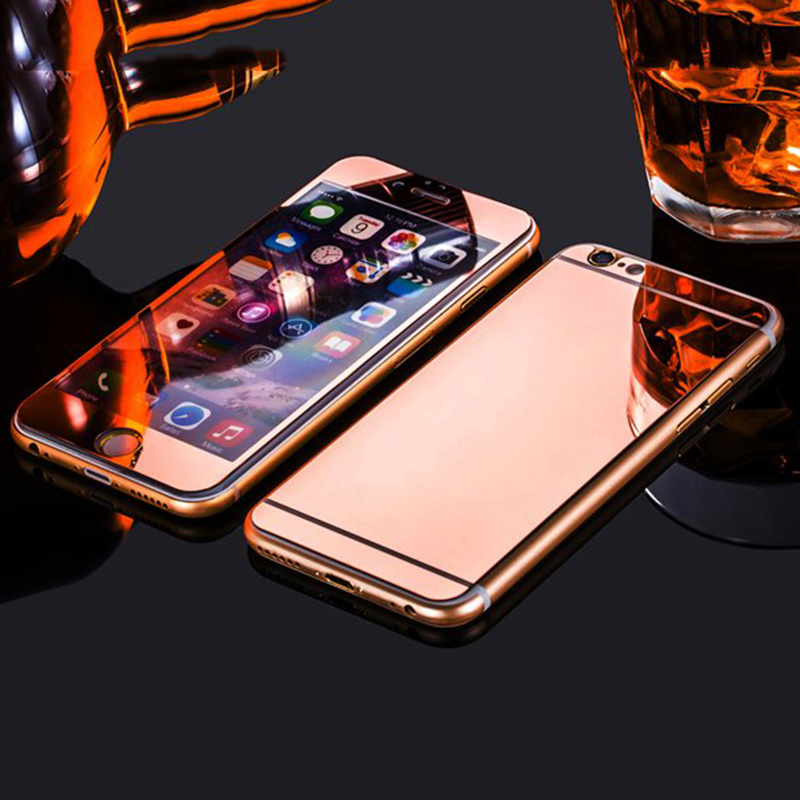 "2Pcs/Lot 9H Premium Mirror Electroplating Color Tempered Glass Screen Protector For iPhone 6 6s 4.7"" 6S plus 5.5"" Front and Back(China (Mainland))"