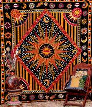 Хиппи психоделическая небесная Мандала Луна солнце гобелен настенный большой индийский богемный гобелен в стиле хиппи(China)