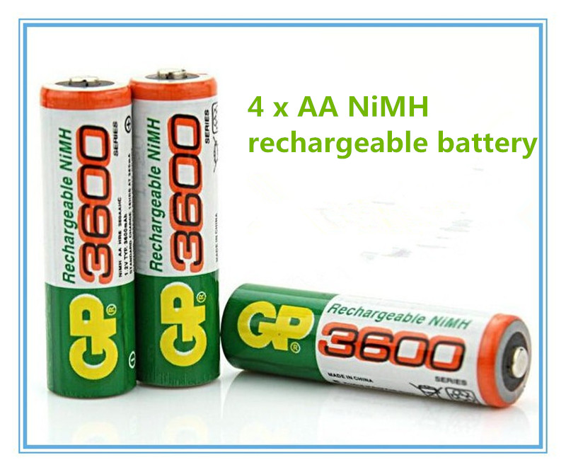 Brand New 2016 0riginal 4pcs/Lot GP 1.2V NiMh AA 3600 Battery Rechargeable AA Batteries pilas recargables free shipping(China (Mainland))