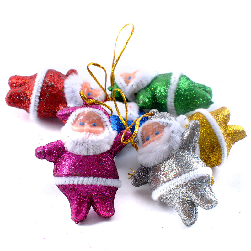 2015 Cheap Christmas Decorations Lovely Powder Santa Claus Hot Sales Christmas Ornaments Decorating Ideas 6 Colors Mixed(China (Mainland))