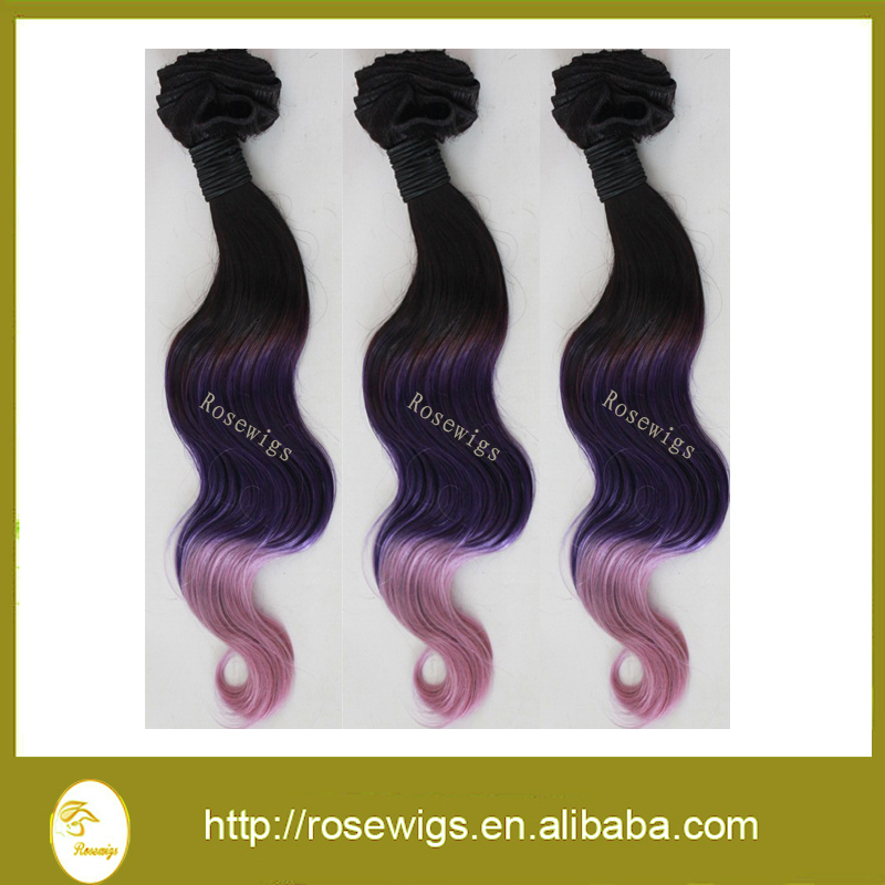 Top Quality Ombre Malaysian Virgin Hair Body Wave Remy Human Hair Extensions 2Pcs/Lot  Three tone 1b/purple/pink Hair Weave<br><br>Aliexpress