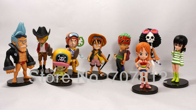 2013 New PVC  4ch 10cm One Piece Action Figures  the Straw Hats 9pcs/set  Luffy/Roronoa/Zoro/Sanji/Chopper free shipping