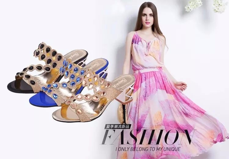 2017 New Brand Women Shoes Fashion Fish Mouth Women Slippers Rhinestone Pierced Sandals High Heel Zapatos Mujer Beach Shoes