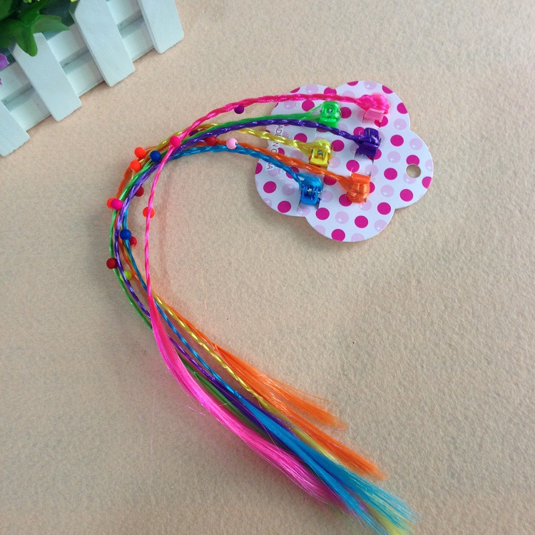 6pcs/set Cartoon Cute Good Quality 2pcs/set My small Baoli Hair Clip With Long Colorful Wig Dolls Decorations Toys For Children(China (Mainland))