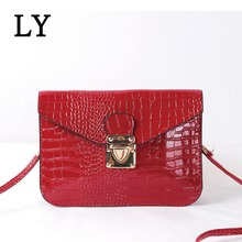 Crocodile pattern Candy Color Multifunction Small Package Mobile Phone Bag Retro Shoulder Messenger Bag Female Double
