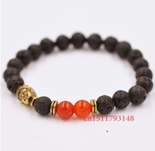 Retail Hot Sale Jewelry 8mm Lava Stone Beads and Red Agate Beads with Antique Gold Buddha Men's Bracelets
