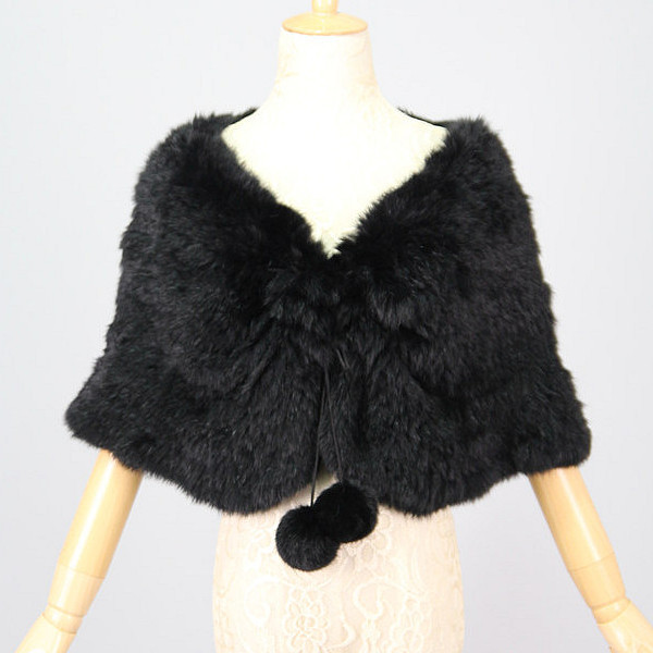 Free Shipping 2015 New Rabbit Fur Poncho Knitted Real Fur