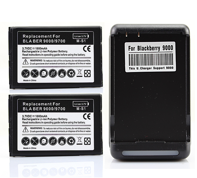 YIBOYUAN 2x 1800mah Battery with Wall Charger for Blackberry Bold 9700 9780 9000 Free Shipping wholesale(China (Mainland))