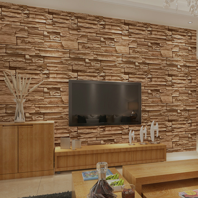 Chinese style dining room wallpaper modern 3d stone brick - Colores para comedores modernos ...