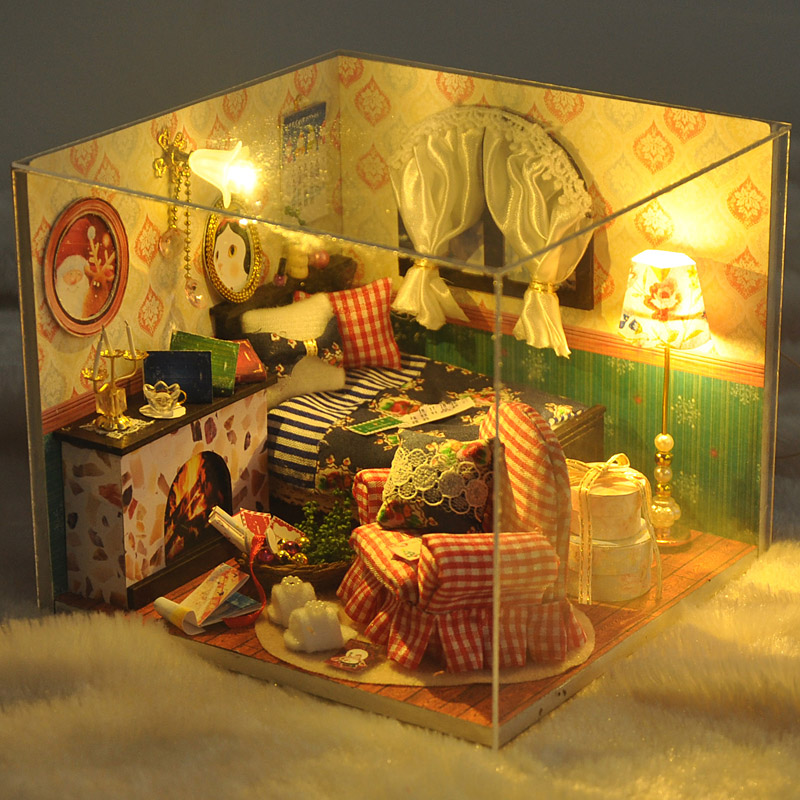 Home Decoration Crafts DIY Doll House Wooden Doll Houses Miniature DIY dollhouse Furniture Kit Room Items LED Lights Gift TW13(China (Mainland))
