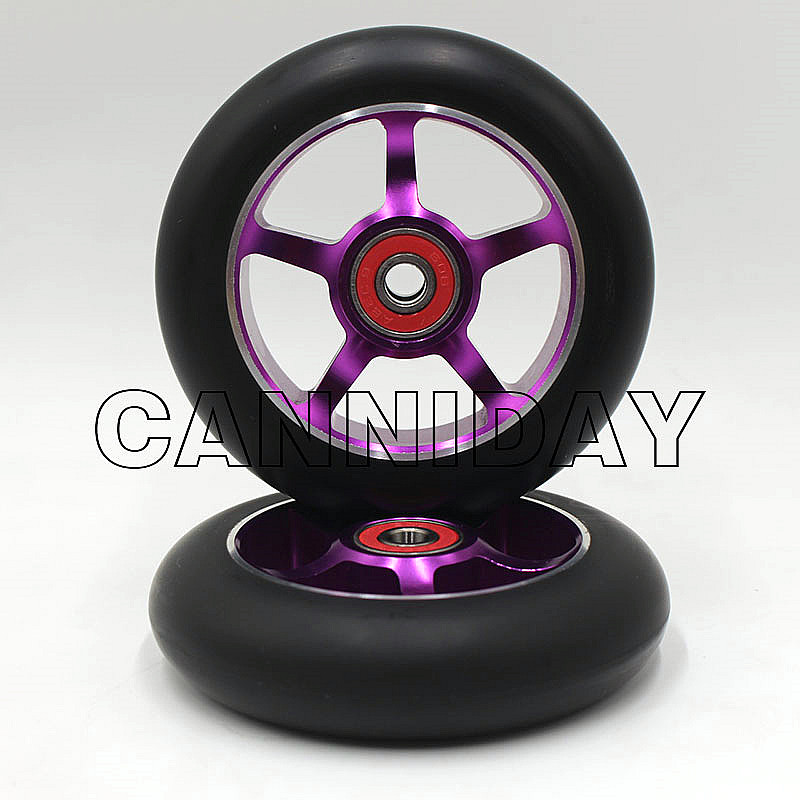 100mm Free high freestyle alloy scooter wheels purple wheel 2 scooter wheels