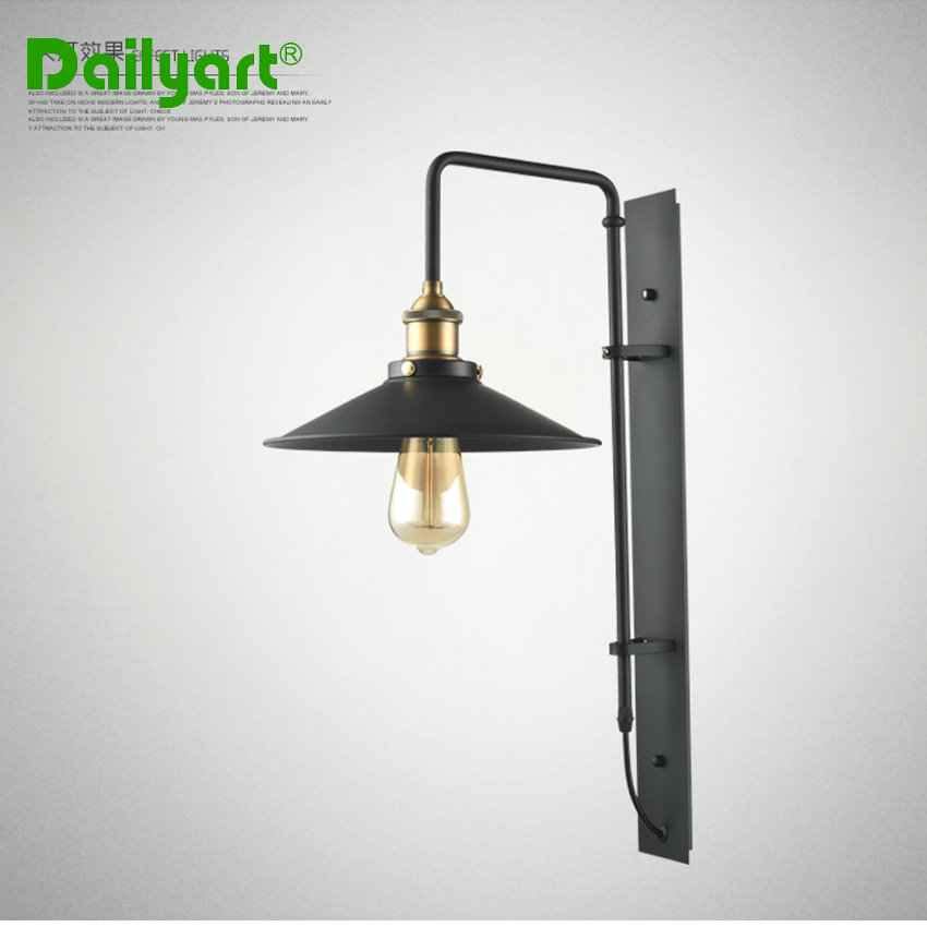 Wall Mount Lamp Shades : E27 wall mounted Industrial wall lamp american style metal shade black painting wall light for ...