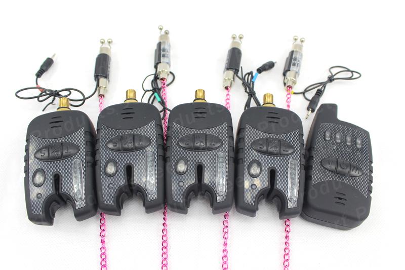 Free Shipping JY-73 8LED Indication Wireless Carp Fishing bite alarm with fishing swinger set(4+1+4set)(China (Mainland))