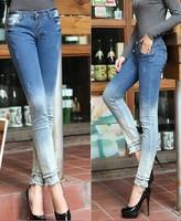 Boyfriend Jeans For Women 2015 New Fashion Gradient Skinny Womens Jeans Slim Pencil Pants Denim Jeans Boots Pants Trousers Cheap
