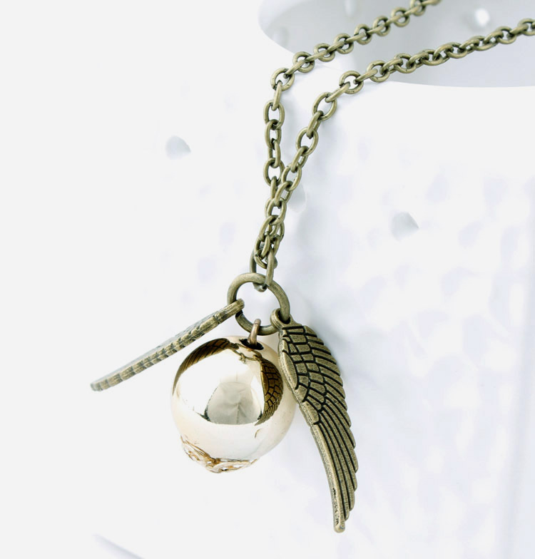 Thin film theme jewelry angel wings snitch hanging pendant necklace harry potter appeal(China (Mainland))