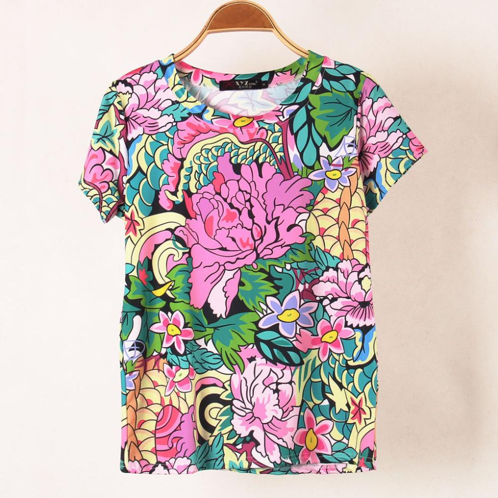 2014 new 3d brand women t shirts with printed floral flowers short sleeve t shirt plus size tees