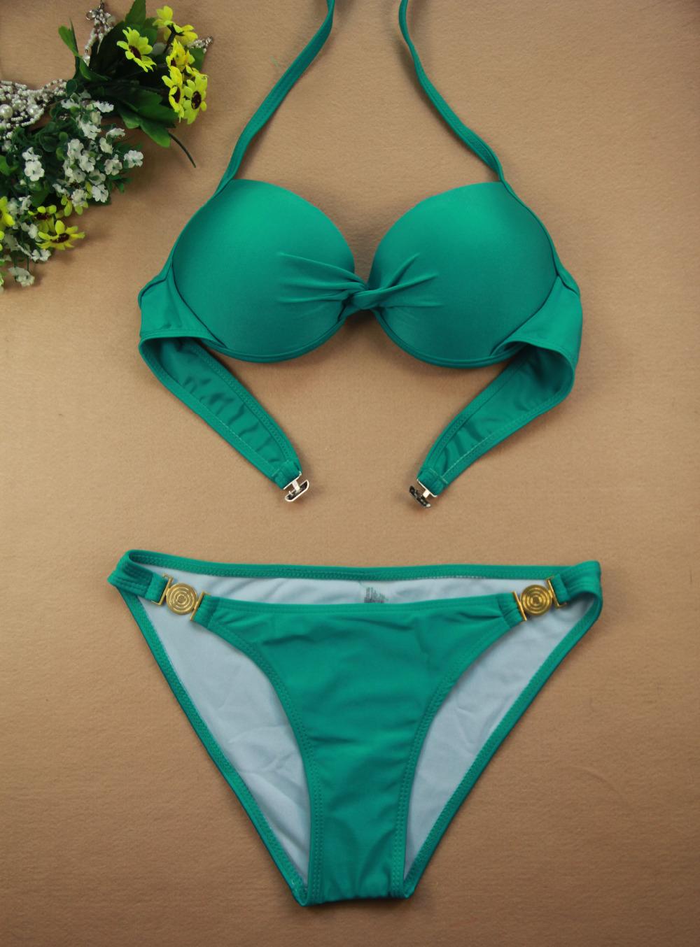 Solid Bandage Swimwear Women Brand Bikini Set Triangl Swimsuit Neoprene Beachwear Swimsuit Vintage Bathing suit Push Up Bikini(China (Mainland))