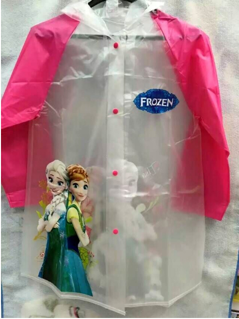New Famous cartoon characters Princess Elsa Anna children raincoats kids rain capes poncho in stock(China (Mainland))