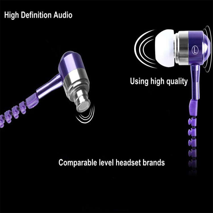 3.5mm In-Ear Metal Bass Zipper Earphones Sports Music Wired Earbud Headset With Microphone For iphone Samsung
