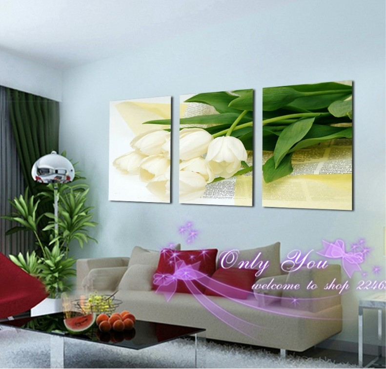 No Frame 3 Panel Wall Art White Flowers Green Leaves Wall Pictures For Living Room On Canvas Painting Home Decor,Free Shipping(China (Mainland))