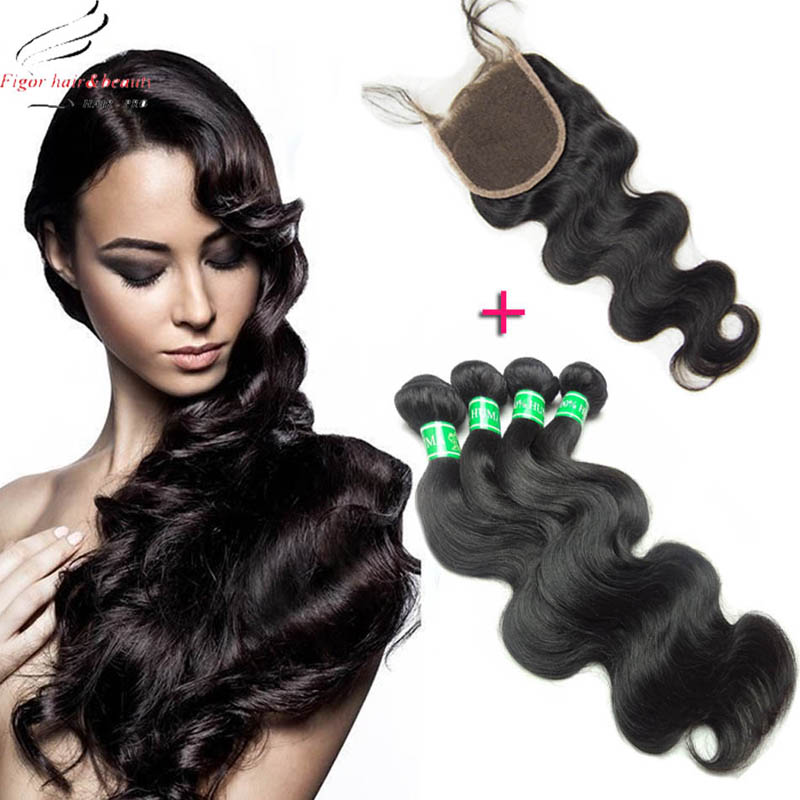 Color 1B Brazilian Remy Hair With Closure 4 Bundles With Closure 100% Human Hair Weave Brazilian Body Wave With Lace Closure<br><br>Aliexpress