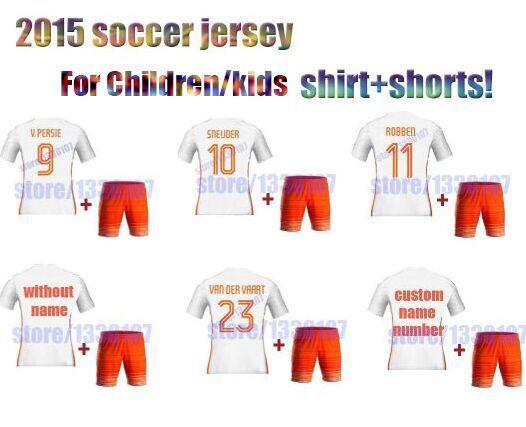 2016 children Netherlandes soccer jersey 2015 holland kids soccer jersey,soccer shirt+pants Robben juniors kids soccer kits(China (Mainland))